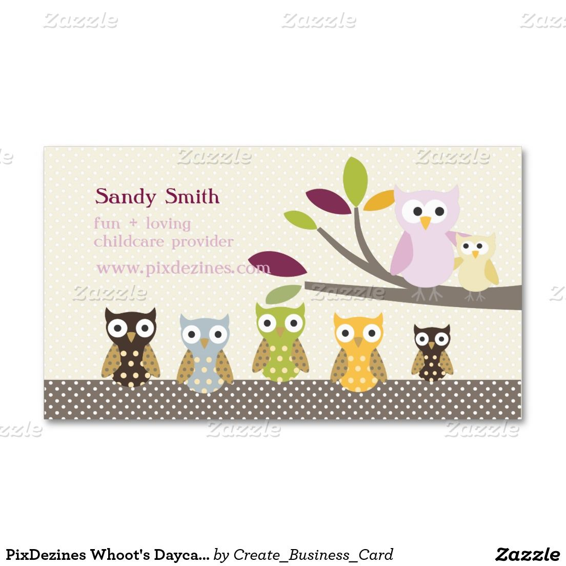 PixDezines Whoot\'s Daycare Business Card | Business, Daycares and Cards