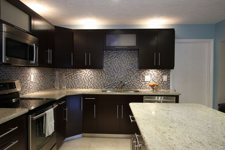Contrast Light Granite Dark Cabinets And Backsplash