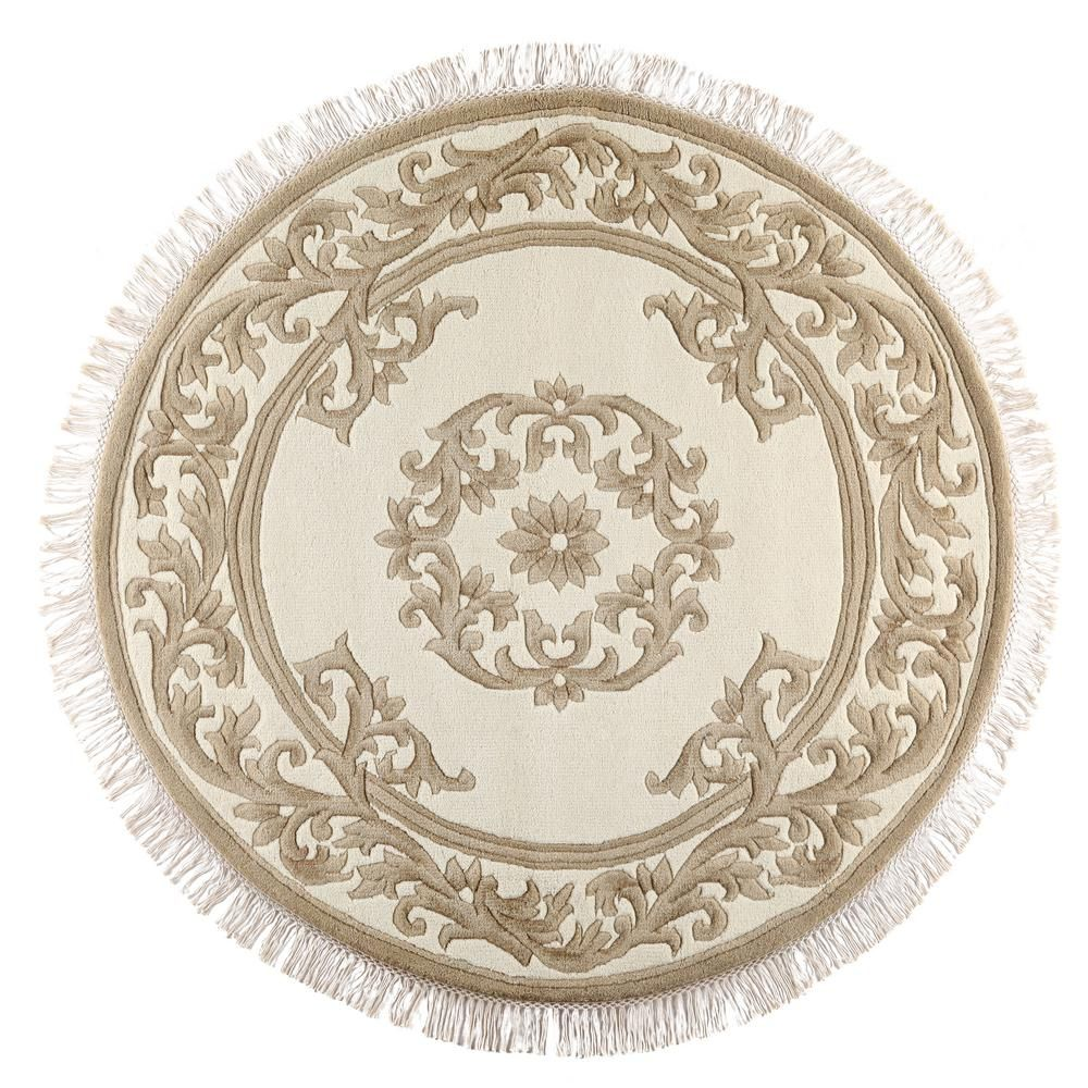 Filigree Aubusson Gold 5 Ft. X 5 Ft. Round Area Rug