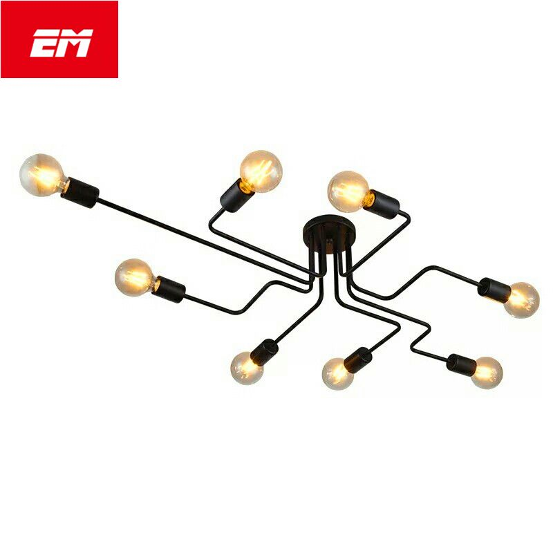 New 468 heads multiple rod wrought iron ceiling light retro new 468 heads multiple rod wrought iron ceiling light retro industrial loft us 3317 mozeypictures Gallery
