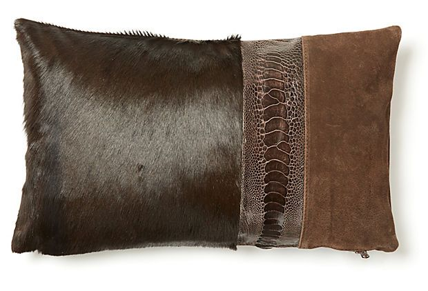 Ashley 12x20 Hide Pillow, Brown - concept for animal hides and mixed fabrics