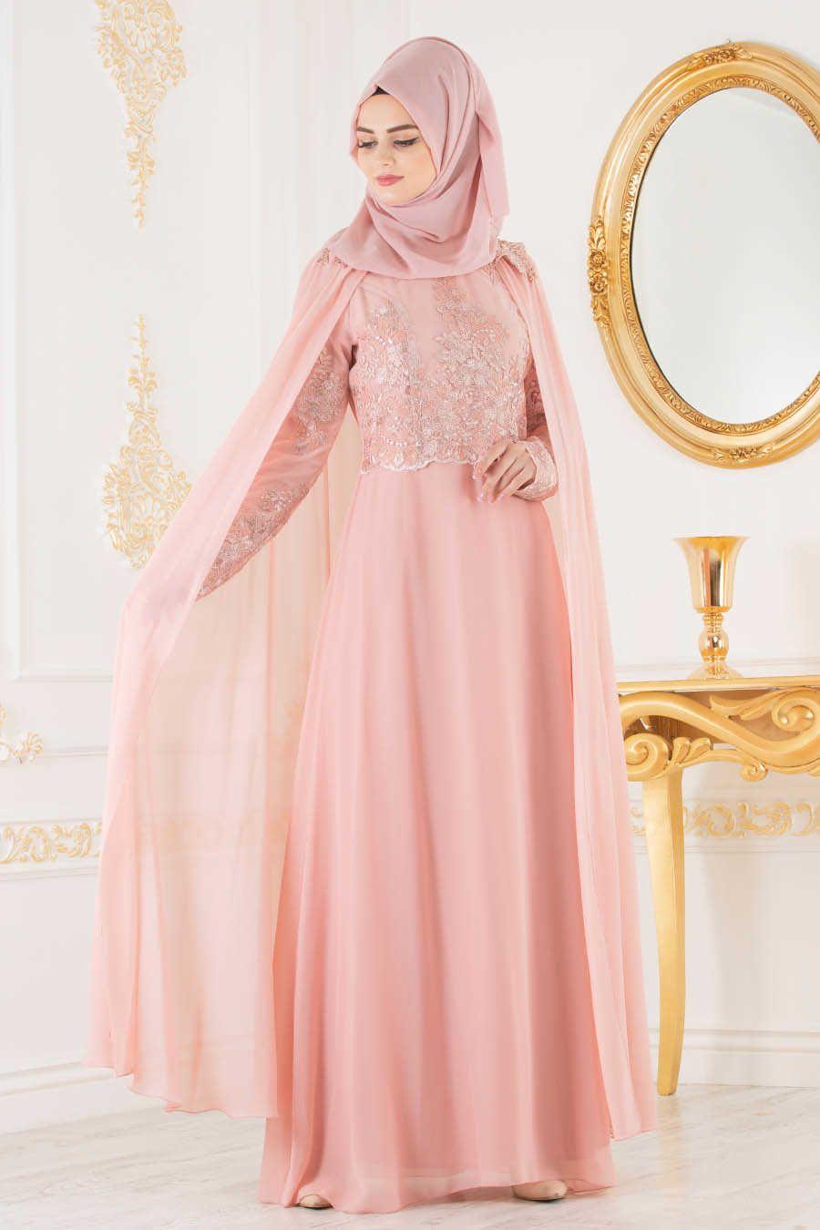 Neva style salmon pink hijab evening dress smn evening