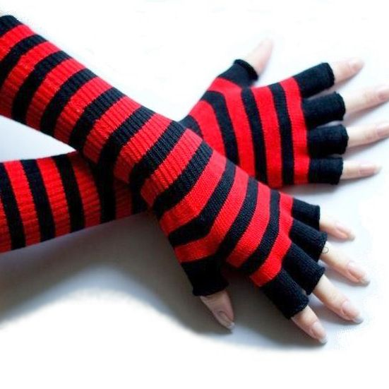 Emo Gloves Black And Red Striped Long Emo Fingerless