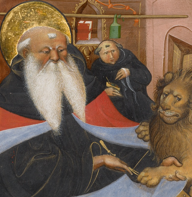 Saint Jerome Extracting a Thorn from a Lion's Paw (detail), Master of the Murano Gradual, about 1425-50
