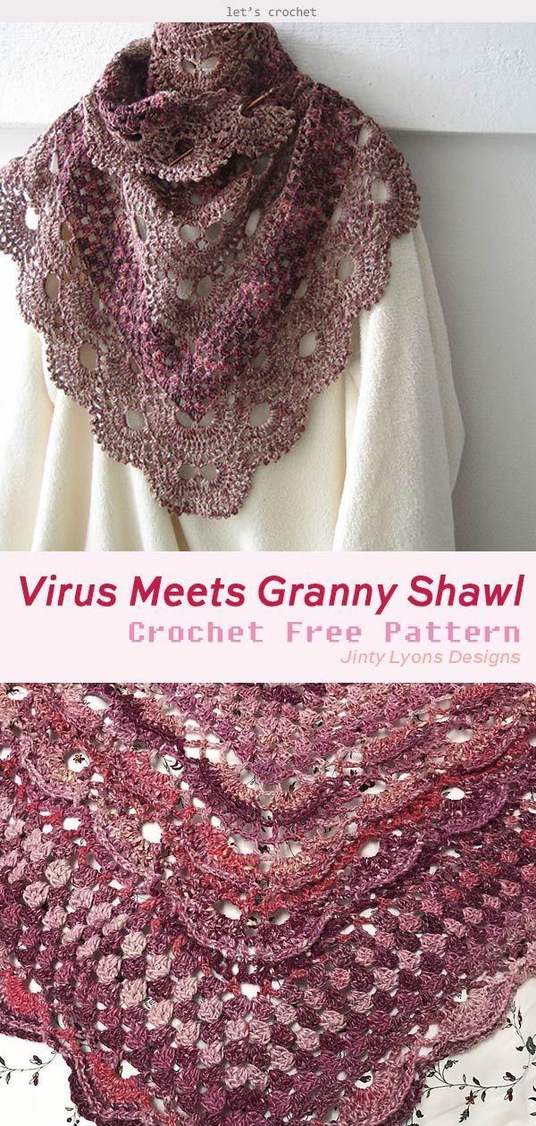 Virus Meets Granny Shawl Crochet Free Pattern #shawlcrochetpattern