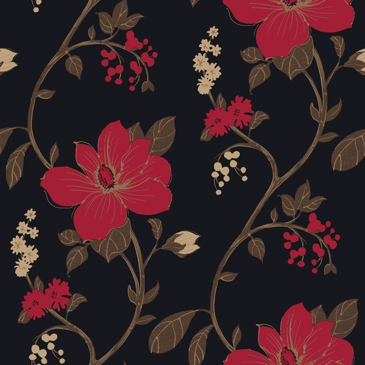 Designer Feature Wall Wallpaper Black Red Flowers Grace 13901 Feature Wall Wallpaper Red Wallpaper Design Living Room Wallpaper