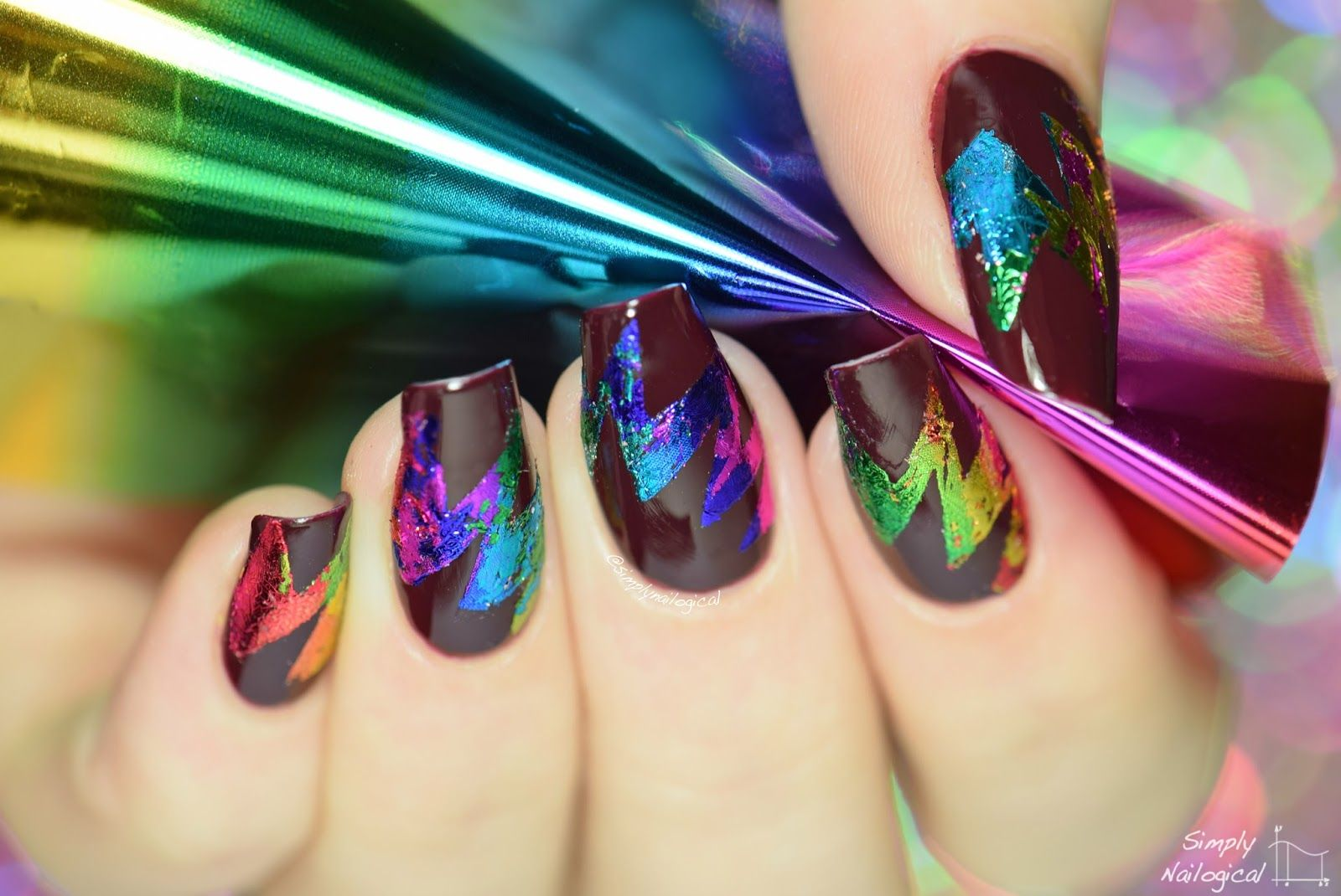 Simply Nailogical: Abstract starburst rainbow foil nail art | Nail ...