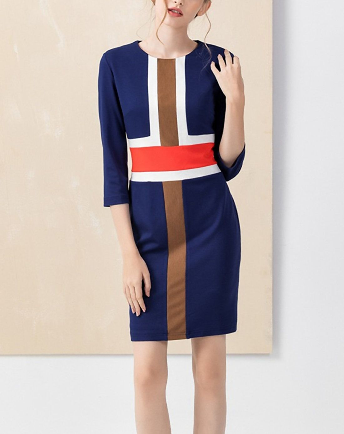 Adorewe vipme sheath dresses yzxh colorblock sleeve navy