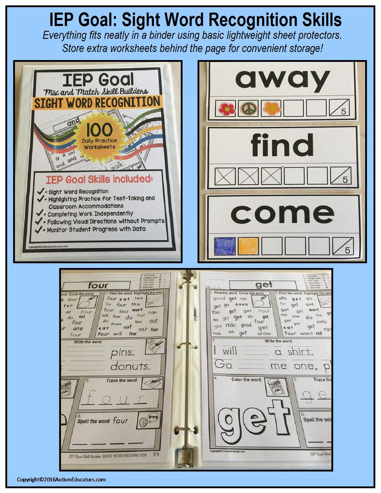 Sight Words Iep Goal Skill Builder Worksheets For Autism