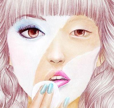 art, drawing, girl, irl, makeup, paint