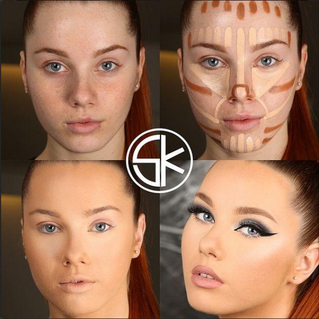 Mujeres antes ydespués del maquillaje