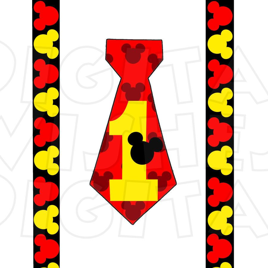 mickey mouse tie and suspenders red black yellow 1st birthday rh pinterest com 1st birthday clipart images 1st birthday clipart images
