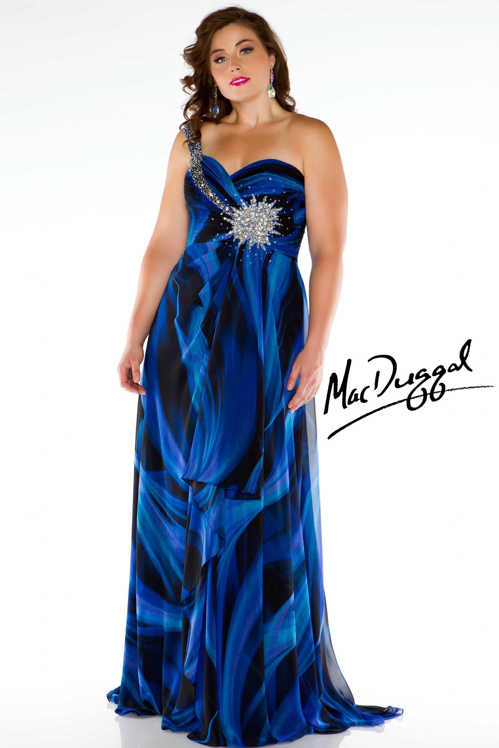Plus Size Blue Tie Dye Designer Evening Gown   Mac Duggal 64450K ...