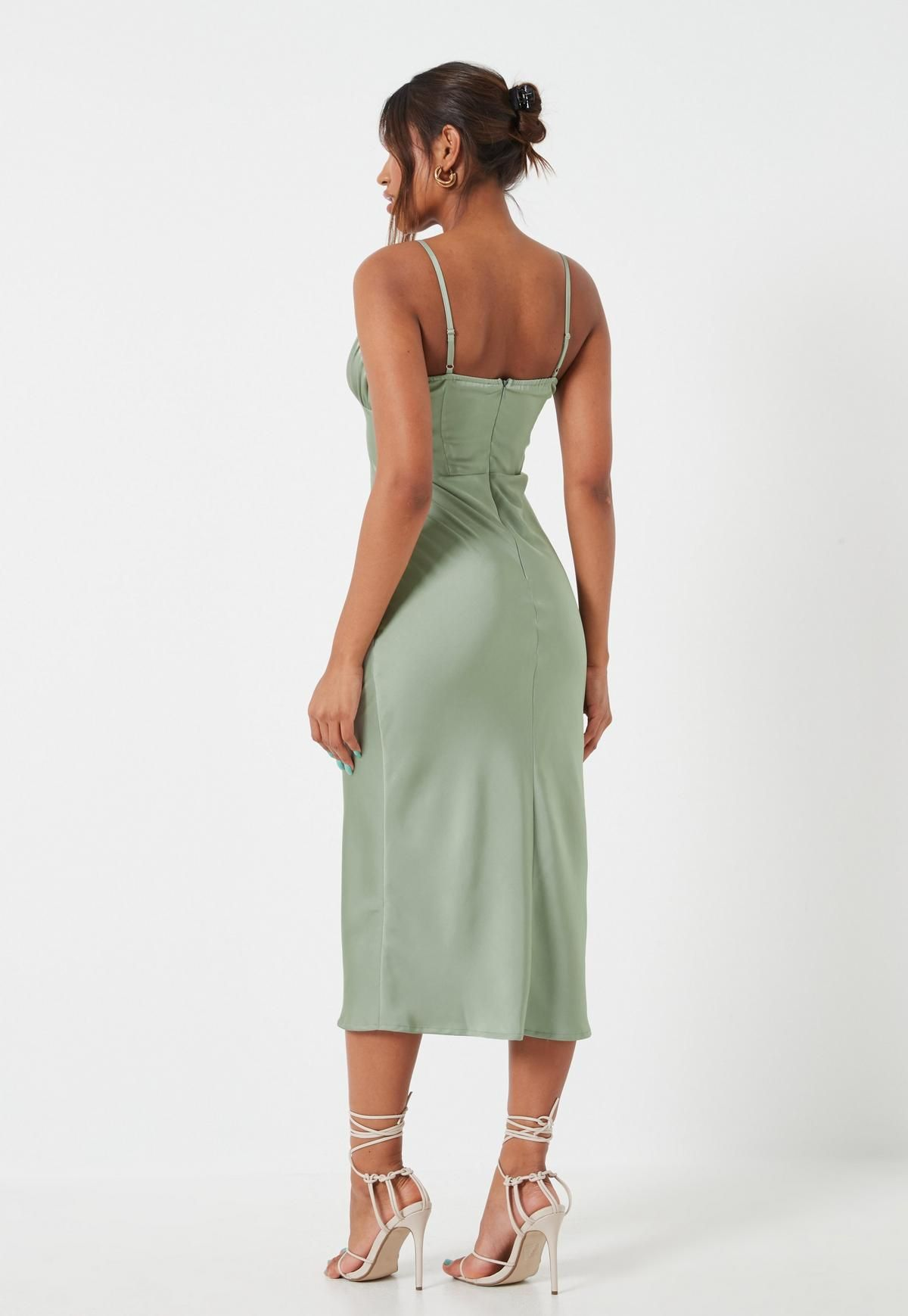 Sage Ruched Bust Strappy Midi Dress Missguided Dressy Outfits Dresses Midi Dress [ 1739 x 1200 Pixel ]