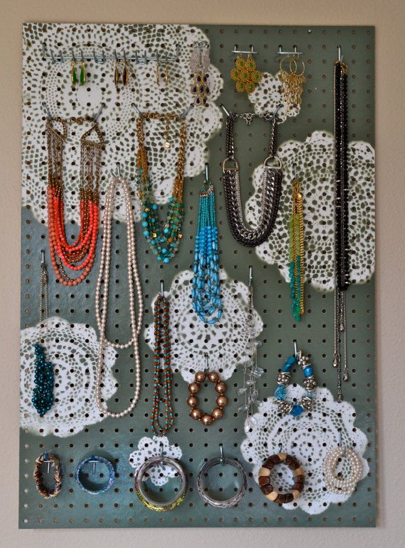 I am sure I could make one of these...  Jewelry Organizer Wall Display, Jewelry Holder, Custom, Hand Painted, Sage Green