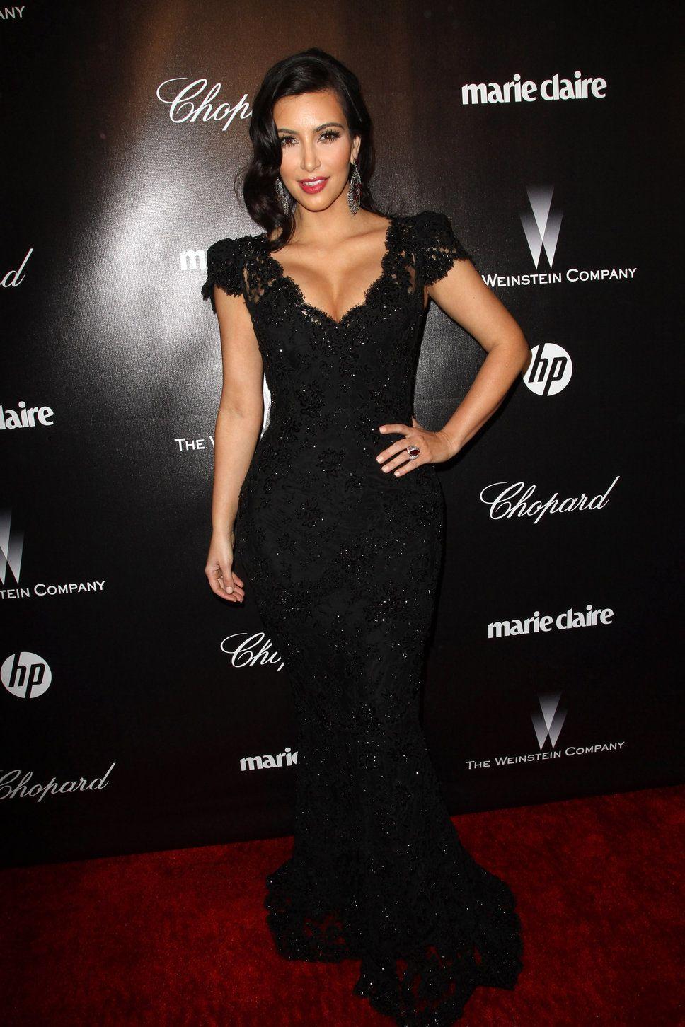 Black dress with red lipstick - Kim Kardashian Black Lace Maxi Dress Hollywood Curls Red Lipstick