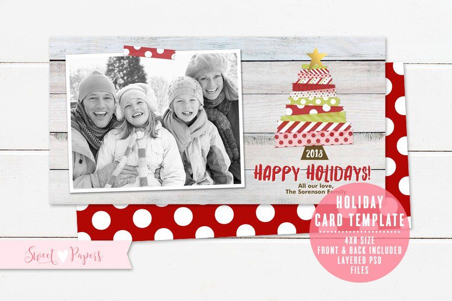 Holiday Photo Card Template In 2020 Holiday Photo Cards Template Photo Card Template Holiday Card Template