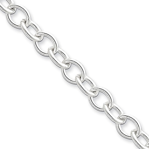 Sterling Silver 24in 6.8mm Oval cable Necklace Chain