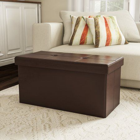 Large Foldable Storage Bench Ottoman Tufted Faux Leather