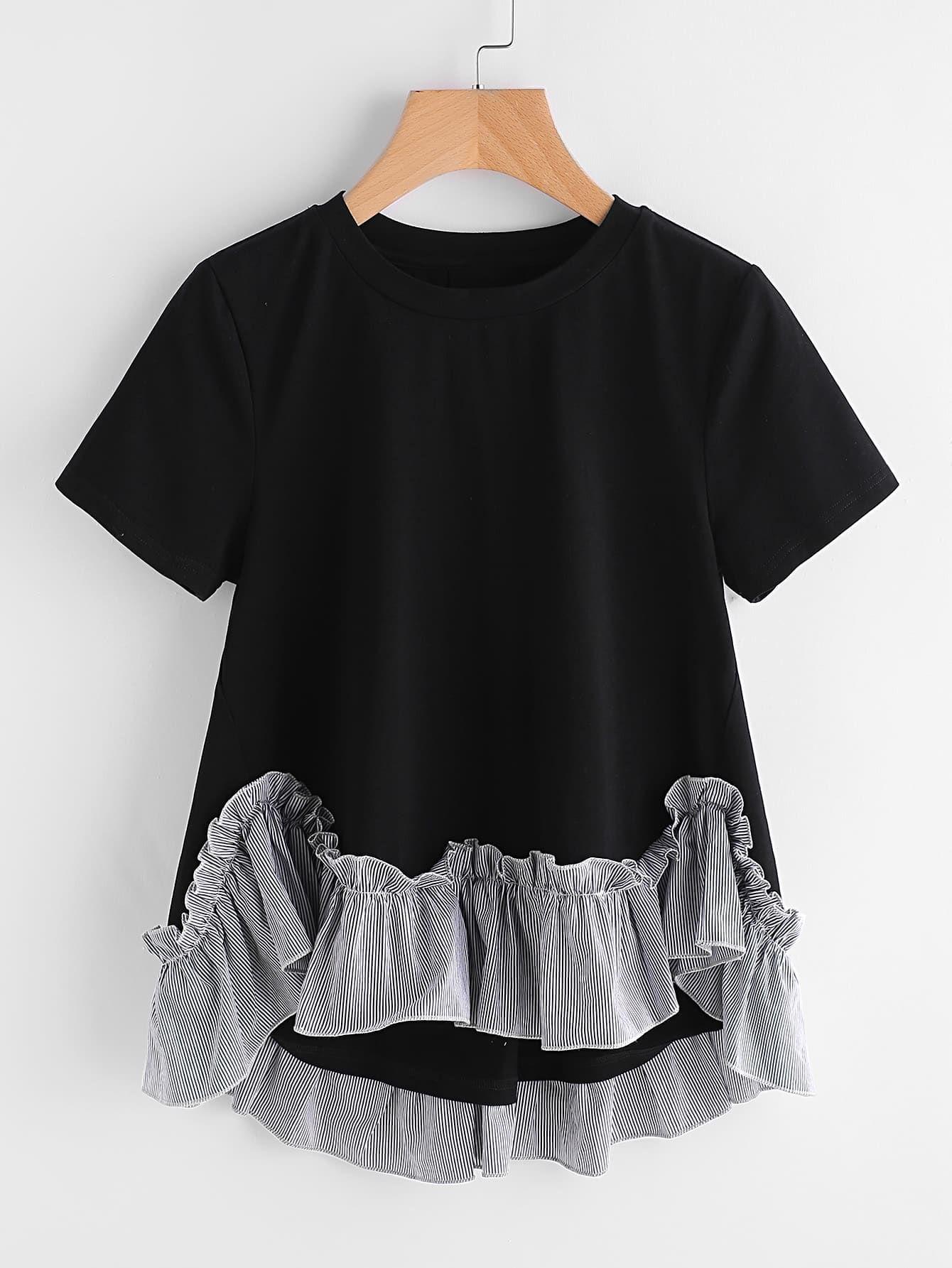 cc26545cb5 Cute Striped Regular Fit Round Neck Short Sleeve Black Striped Ruffle Trim  Hi Lo A Line T-shirt