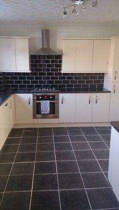 Kitchen Tiles Black Worktop image result for black worktops white tiles | kitchen ideas and
