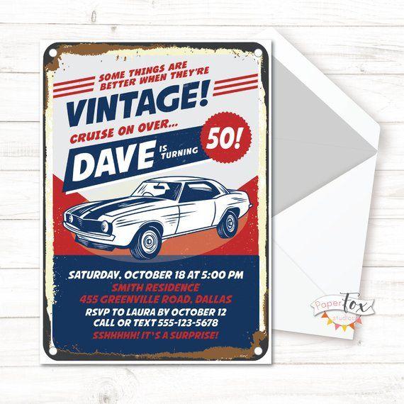 Th Birthday Invitation Th Birthday Invitation Birthday - Classic car invitations