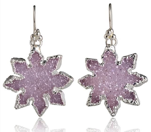 SNOW FLAKES #76115  Sterling silver druzy crystal earrings
