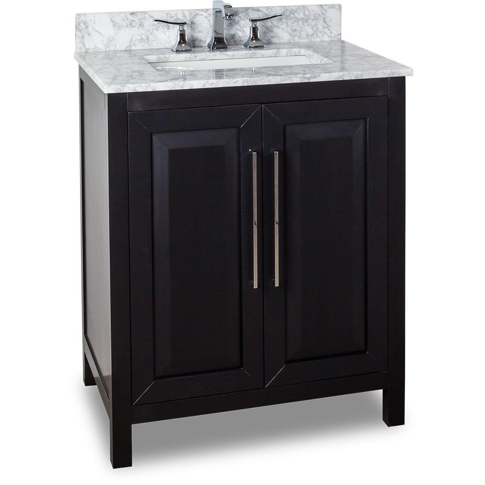 30 Inch Bathroom Vanity Black Finish Carrera White Marble
