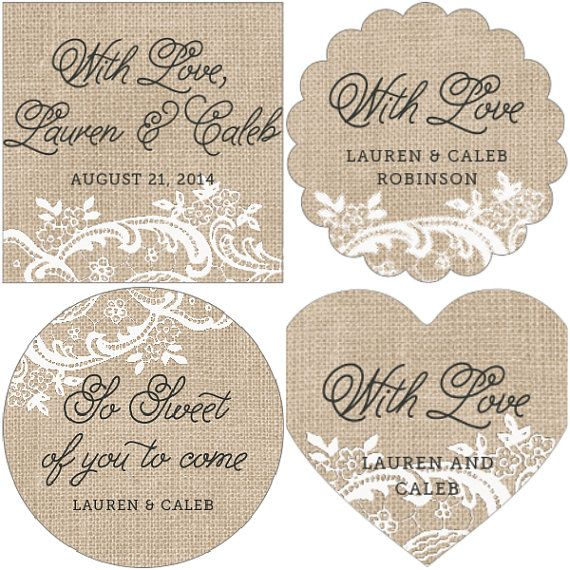 40 Shabby Chic Burlap and Lace Print Labels by WeddingStuffNThings