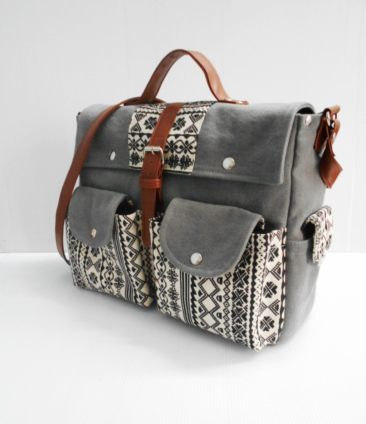 Gray Messenger Bags/Elephant Backpack/Canvas Wash Fabric/Handbags/Bags&Purses/School Bags/Bags/Backpacks (55.00 USD) by PMKSHOP