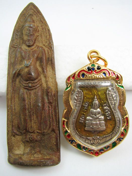 Currently at the #Catawiki auctions: Phra Ruang and Luang Phor Sothorn Buddha amulets - Thailand - mid and late 20...