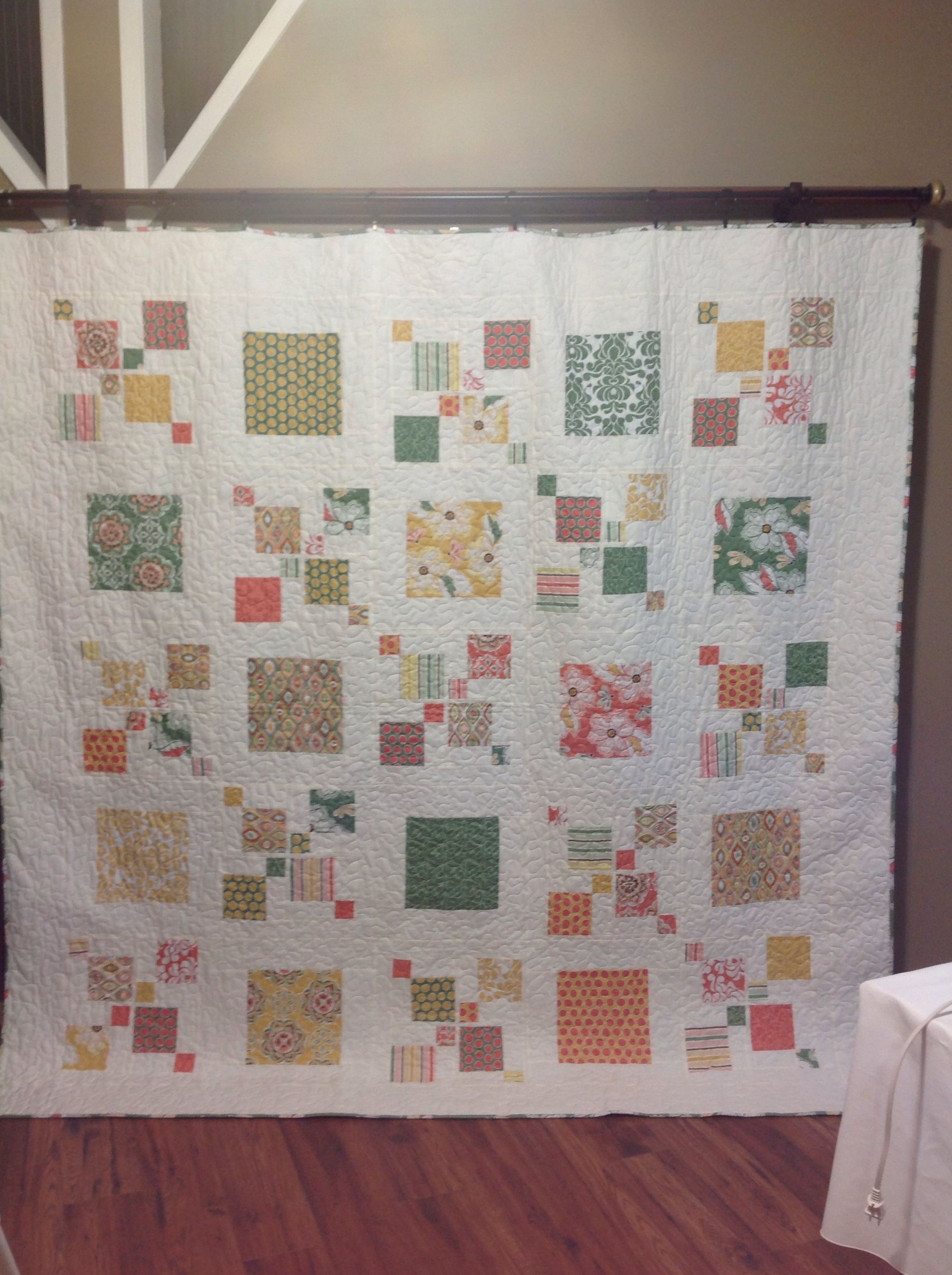 Picture does not do this quilt justice. Beautiful greens, yellows ... : impromptu quilt pattern - Adamdwight.com