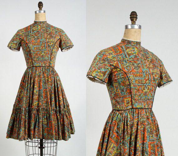 VERKOOP  Folk Print jurk. jaren 1960 land japon Full door VeraVague