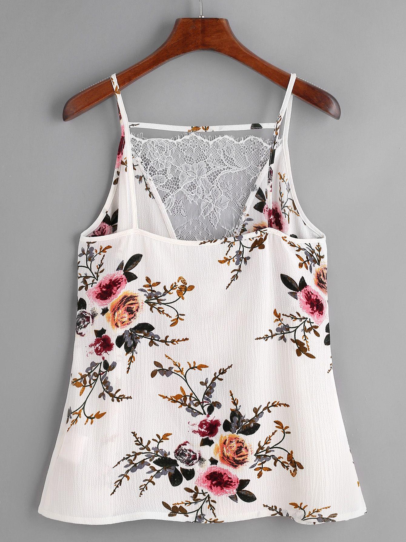Top con estampado floral con cuello en V con encaje - blanco ...