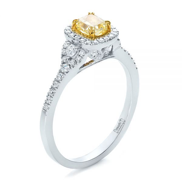 Fancy Yellow Diamond with Halo Engagement Ring