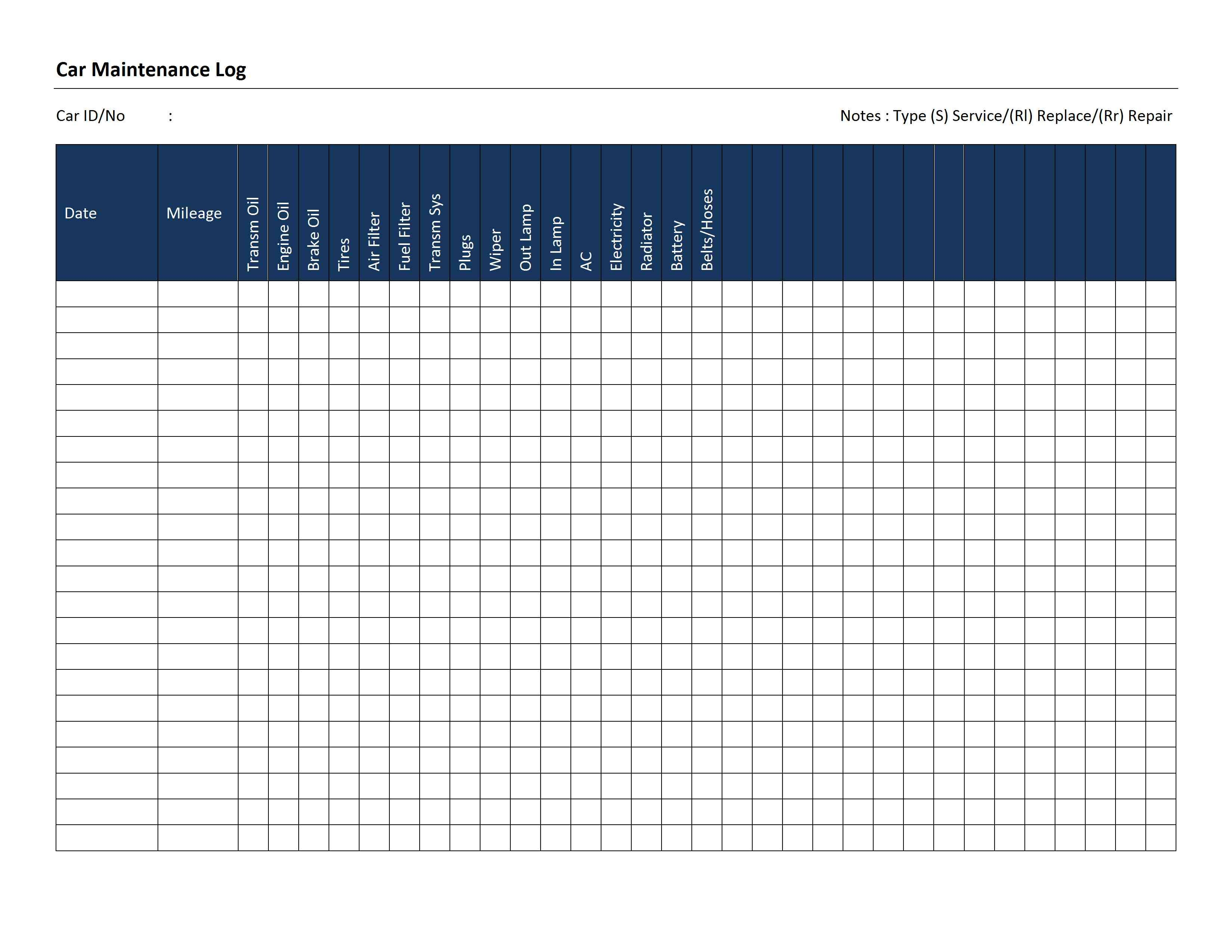 Printable Vehicle Maintenance Log Template HttpWwwAmazonCom