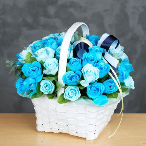 Flowers For Wedding Gift: Soap Flower 36 Blue Rose Basket-perfect For Weddings
