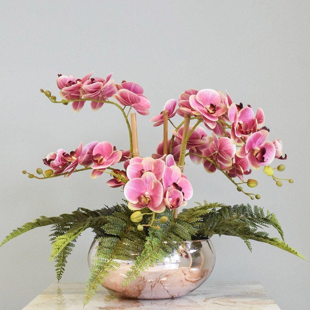 Orquideas Artificiais Arranjo Com Vaso Rose Gold Para Decoracao