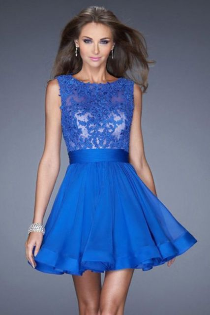 Vestidos de formatura curto azul royal