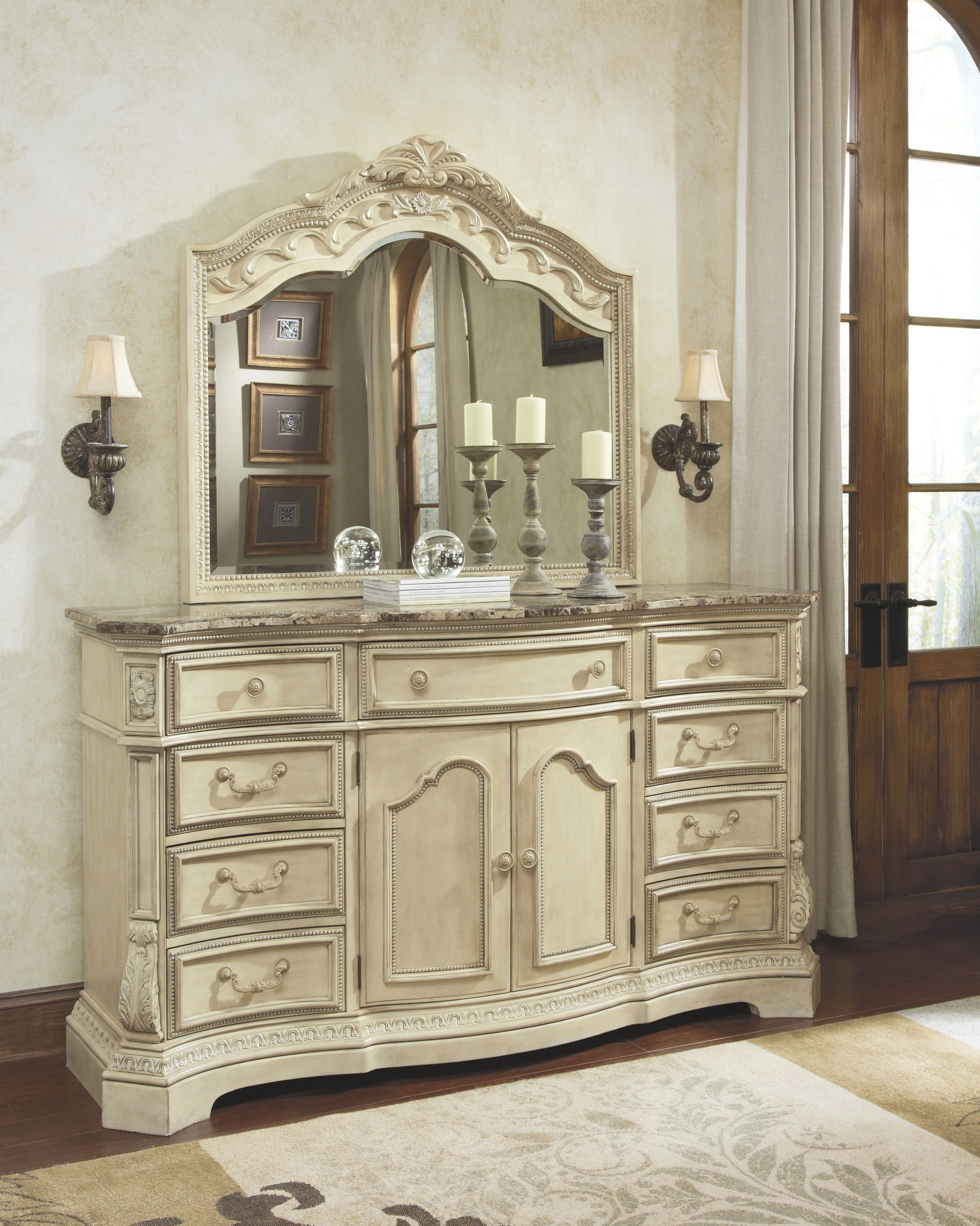 Hallway furniture with mirror  There is room for everything in this natural marble topped dresser