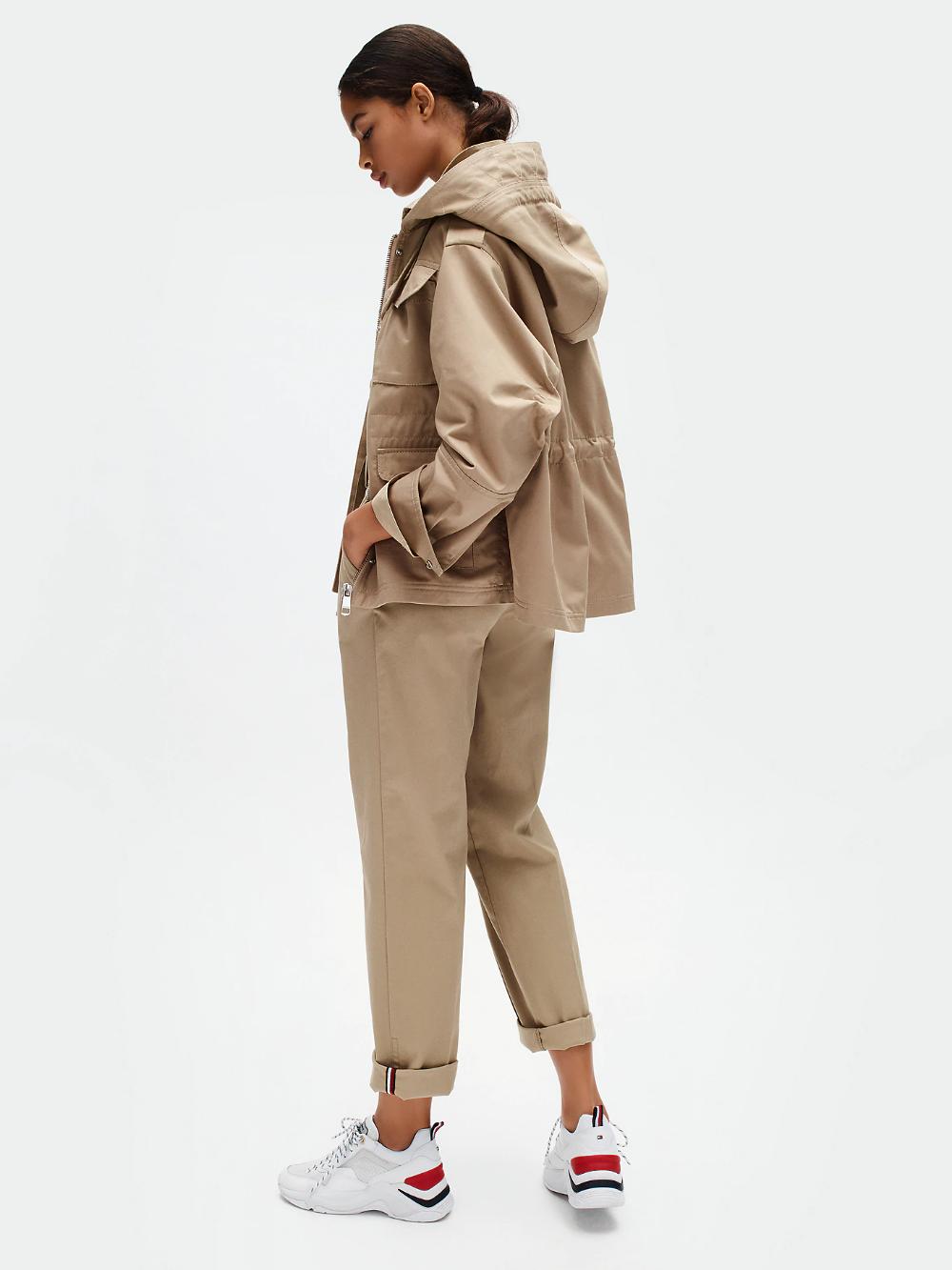 Cotton Twill Hooded Utility Jacket Beige Tommy Hilfiger Outerwear Jackets Women S Coats Jackets Tommy Hilfiger [ 1333 x 1000 Pixel ]