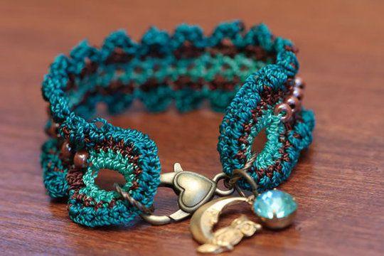 Crochet Beaded Cuff Bracelet Pattern 28 Bnder Pinterest