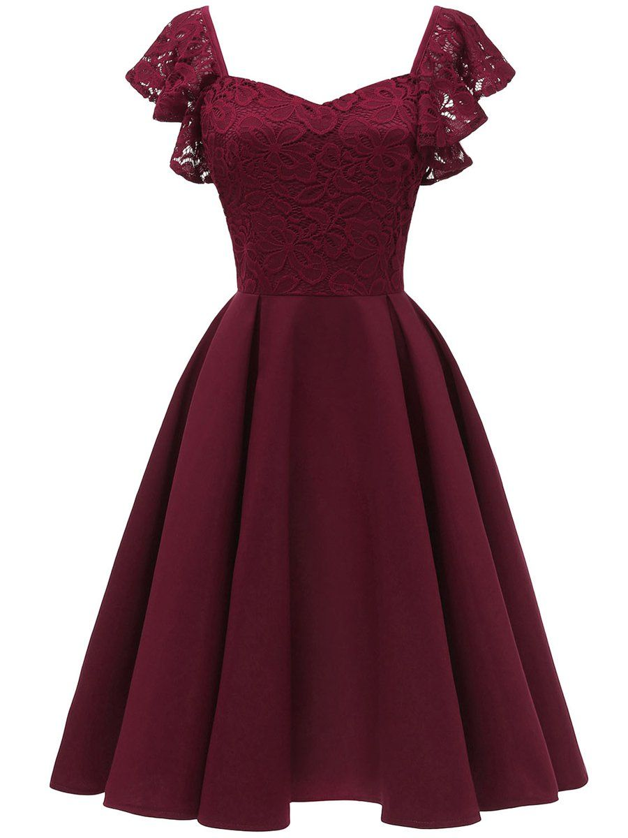 Big Swing Butterfly Sleeve Solid Color Dress Wine Red L Satin Homecoming Dress Summer Party Dress Casual Summer Dresses [ 1200 x 900 Pixel ]