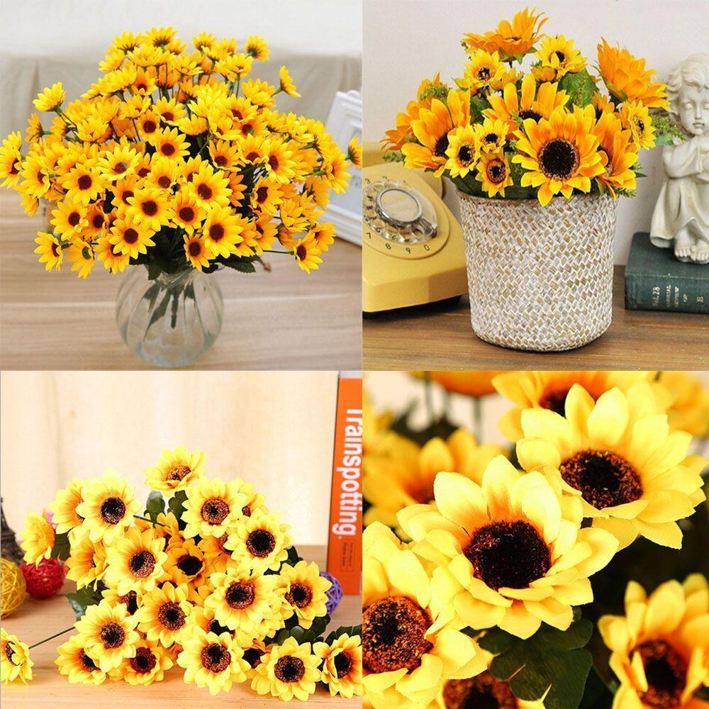 Details about Table Decor Fake Sunflower Bouquet Silk