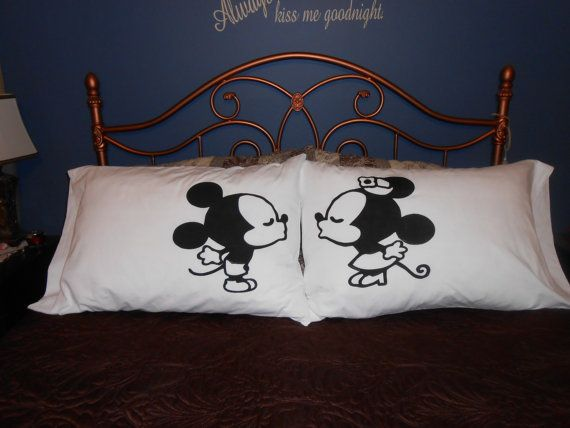 Painting Pillowcases Ideas: Kissing Mice  Hand Painted on Standard Pillowcases  Couples Gift    ,