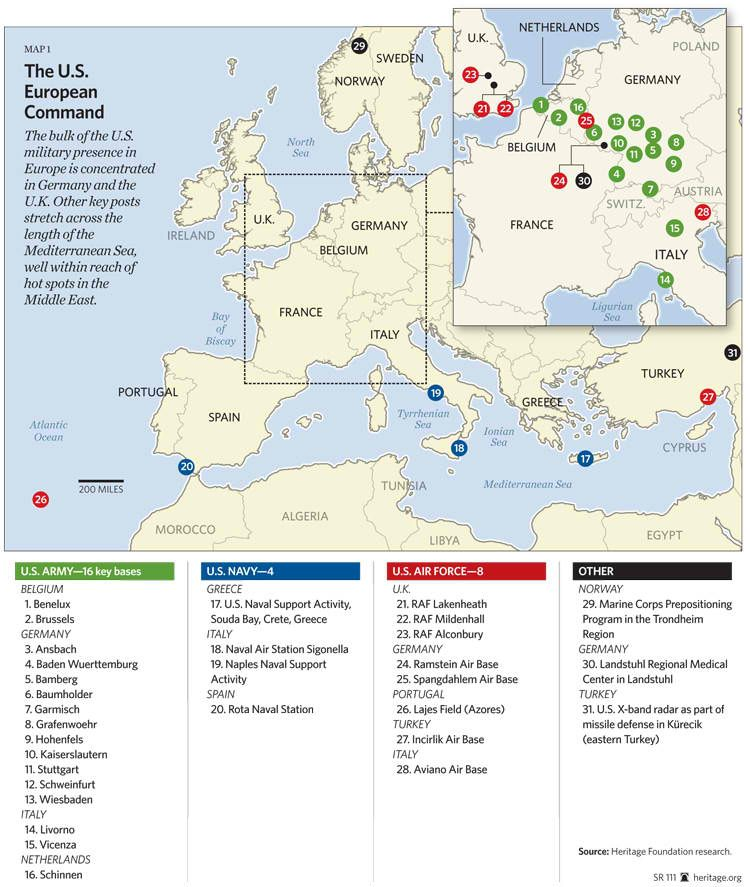 Map of American Military Bases in Europe   Maps in 2019   Air force ...
