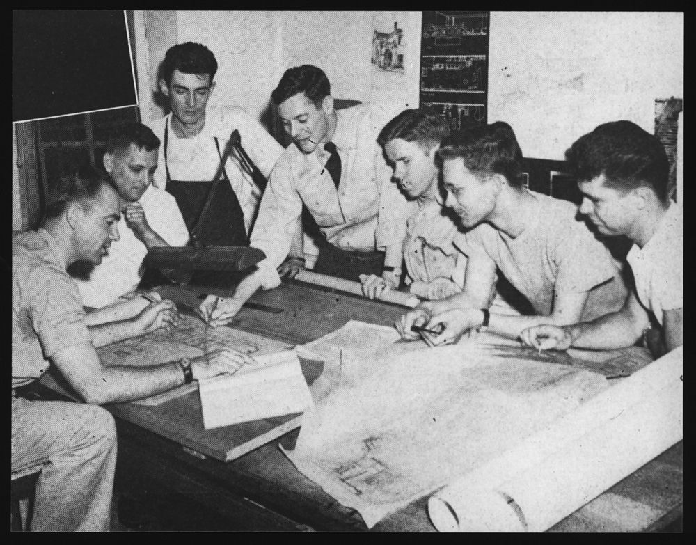 Classroom scenes. Laboratory engineering / architecture students.  Georgia Institute of Technology. Library and Information Center