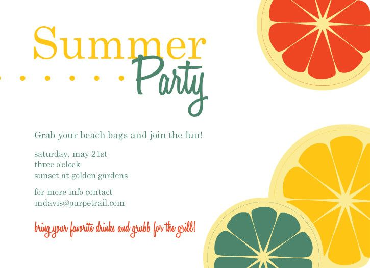 Colorful Citrus Fruit Summer Party Invitation frutas – Free Summer Party Invitation Templates