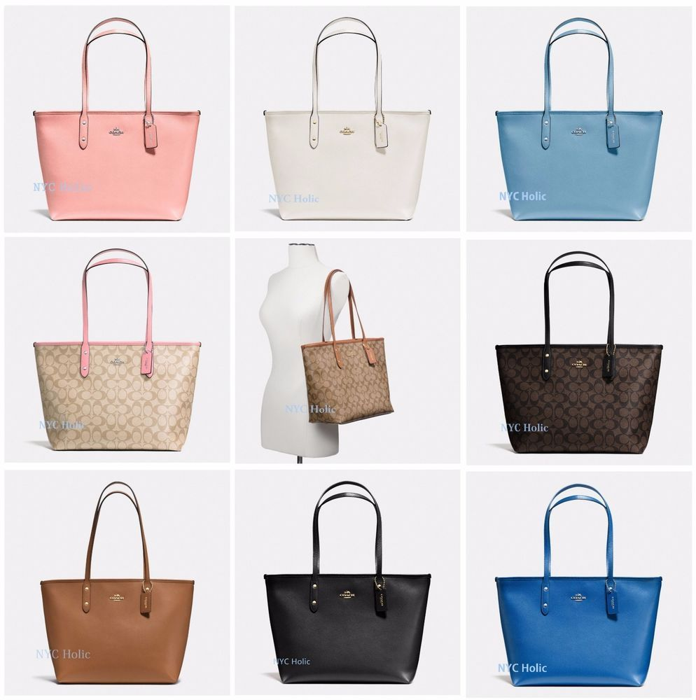 ... release date new coach f58292 f58846 city zip tote in signature pvc  canvas crossgrain leather coach d04d3cef5d344