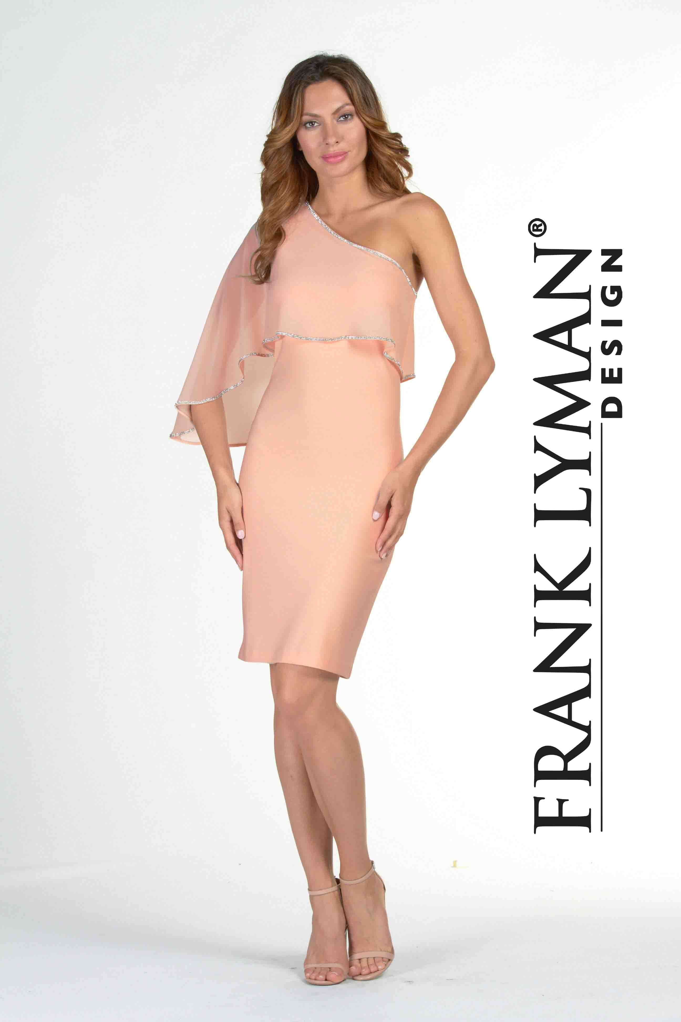 Frank Lyman 2017. Chic one shoulder peach cocktail dress with flattering embellished edge chiffon overlay. Proudly Made In Canada